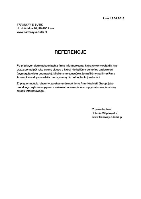 referencje Artur Kosiński tworzenie stron www