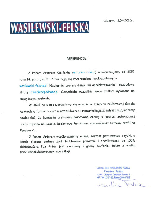 referencje Artur Kosiński strony interentowe Olsztyn