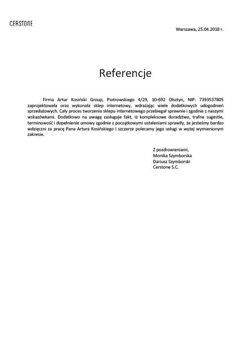 referencje Artur Kosiński strony internetowe Olsztyn