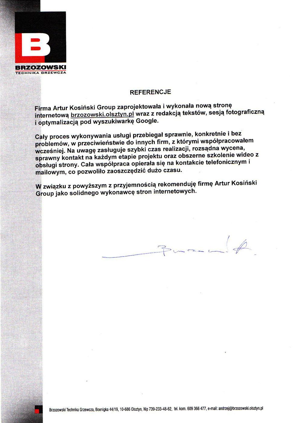 referencje brzozowski strona internetowa